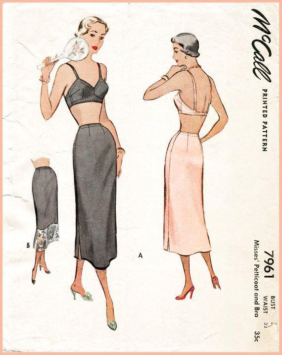 Vintage Bra Pattern 1940s 1950s Lingerie Bralette Tap Fitted Slip Skirt  Bust 38 B38 English U0026 French Repro