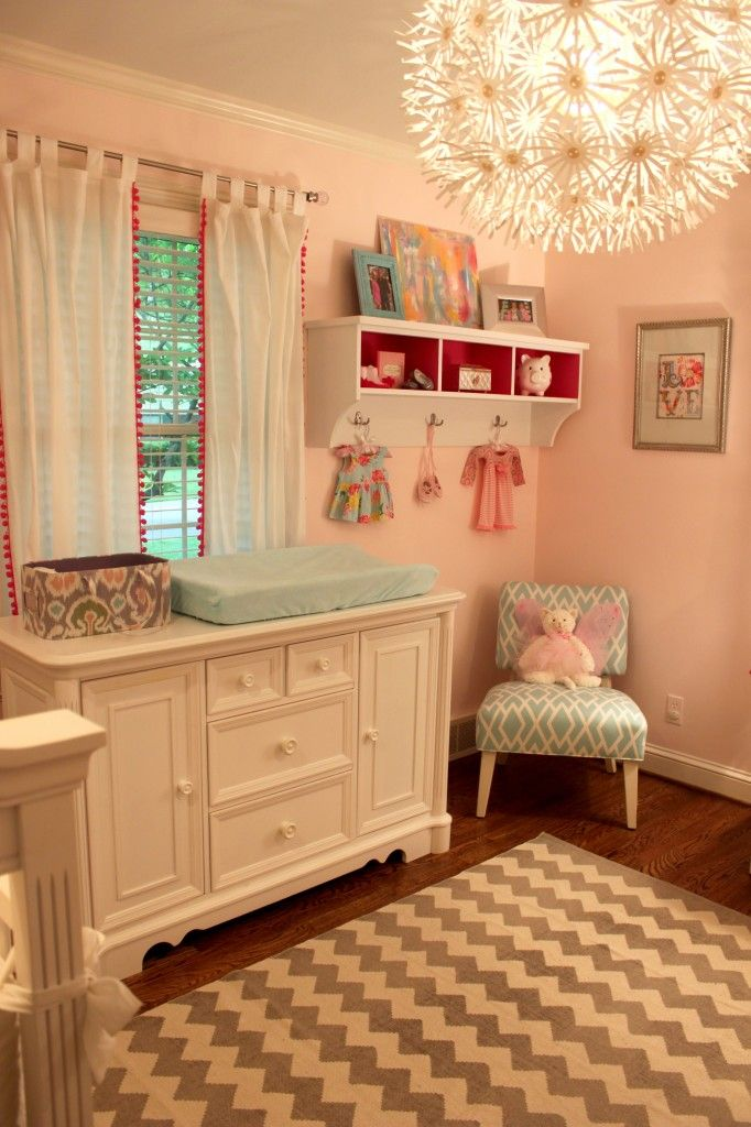 Pretty nursery.: Nursery Idea, Girl Room, Baby Girl, Baby Room, Light Fixture, Color Combination, Kid