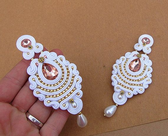 White Long Bridal Clip-On Earrings Gold and от GiSoutacheJewelry