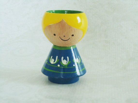 Mid Century Wood Eggcup Holder Danish Modern by SwirlingOrange11, $28.00