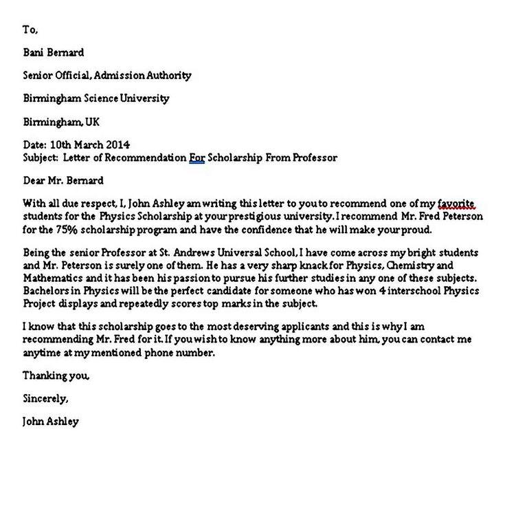 6 Scholarship Recommendation Letter Sample PDF Word ...