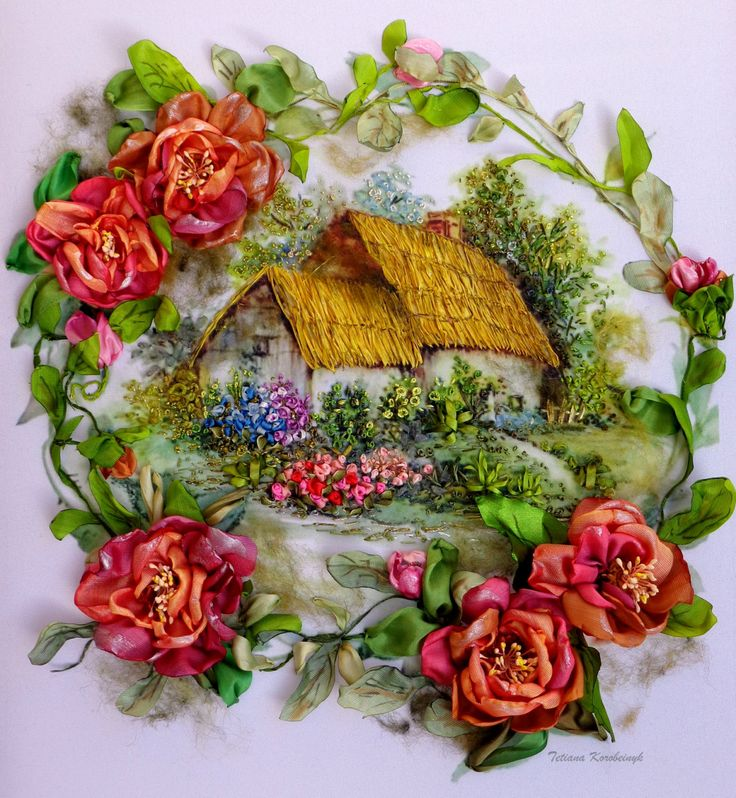 Dreams Cottage Garden Silk Ribbon Embroidery Roses