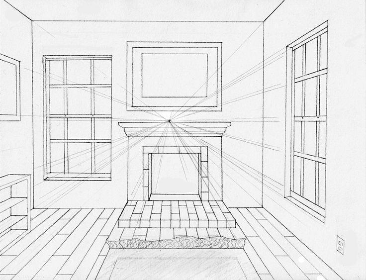Elements to incorporate in a perspective drawing of a room - One point perspective drawing living room ...
