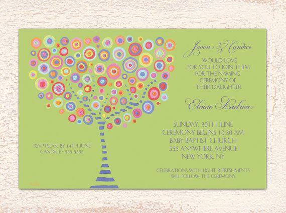 Circle Tree Designer Naming Ceremony / Baptism Printable Invites