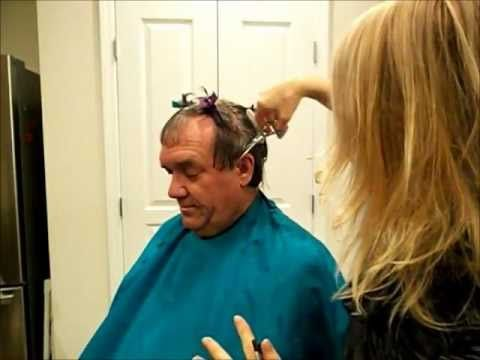 Excellent video on how to cut men's hair (using scissors).  Also helpful for receding hairline.