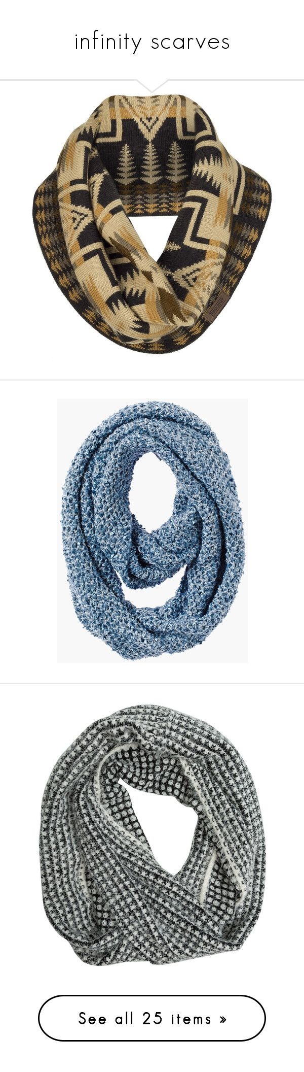 """""""infinity scarves"""" by selfaware ❤ liked on Polyvore featuring accessories, scarves, circle scarf, tube scarf, pendleton scarves, tube scarves, long infinity scarf, montauk blue, blue infinity scarf and metallic shawl"""
