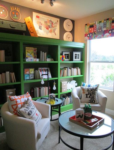 Kids Lounge contemporary kids, green cabinet