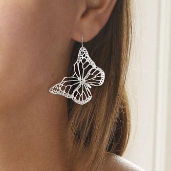 Sterling Silver Monarch Butterfly Earrings