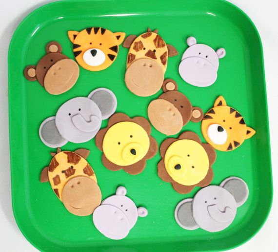Fondant Cupcake Toppers Safari Animals 12 qty Tiger, Elephant, Giraffe, Monkey, Hippo for Safari Cupcakes