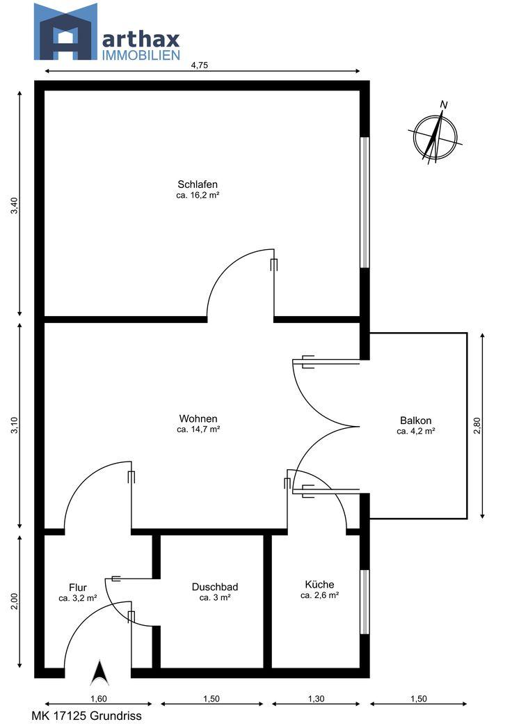 Grundrisszeichnung Einer 2 Zimmer Wohnung Mit Balkon Im Wohnhof D  Gartenstadt Kreuzkampe Hannover List