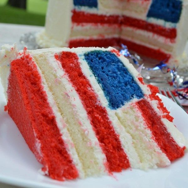 "American Flag Cake | ""Absolute best show-stopping cake I have ever served! My guests were so impressed that they didn't want to cut into it- but they did and the taste was superb!"""