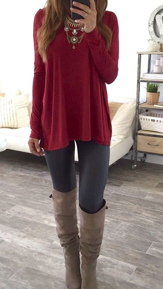 Long sleeve Statement Necklace & Knee High Boots