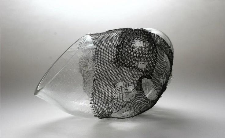 Nemeth Hajnal Aurora's Blown glass into copper wire I did it with my own hand.Ouch!Glass studies in glory hole/ Rézdrótba fújt üveg, saját kezemmel fontam, ez is fájt.Hutai üveg kísérletek 2002-2007