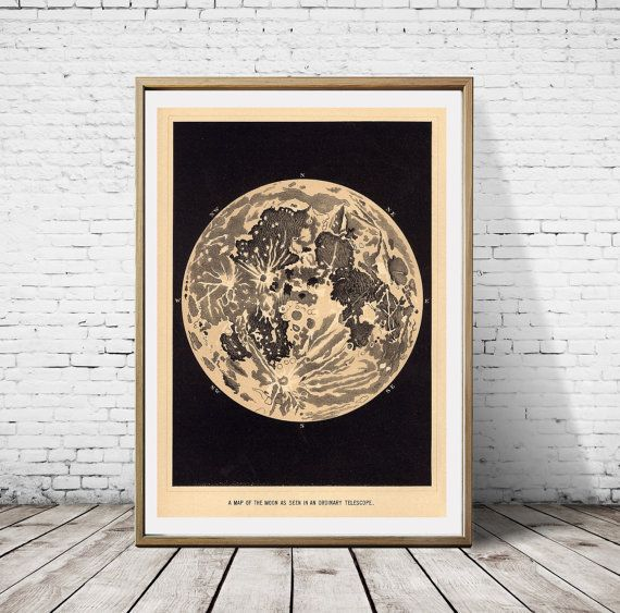 Map Of The Moon Artwork Pencil Draw Retro Design by Perdashka