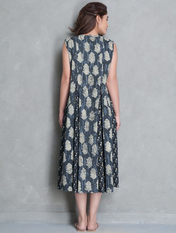Buy Indigo Off White Black Block Printed Cotton Kali Dress by Jaypore SALE! Online at Jaypore.com