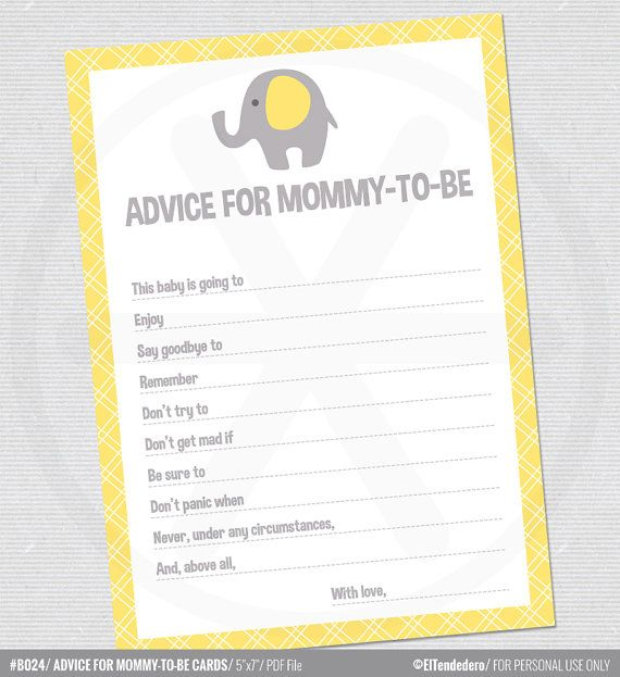 Advice for mommy-to-be cards, with yellow and grey elephants - Baby shower games -  Printable Baby shower advice cards  - PDF file.
