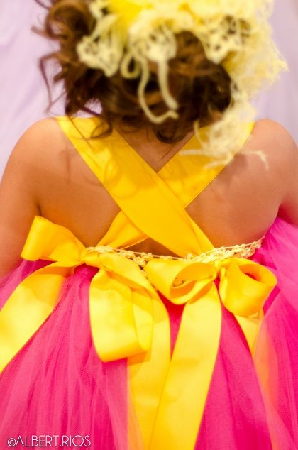 "#012227 ""Tutu Cute"" Bright Pink & Yellow Tutu Dress by TutuGarden.com for $65.00"