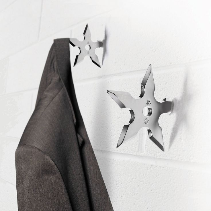 Ninja Star Coat Hooks for the playroom smocks would be great for my ninja turtle loving kids!