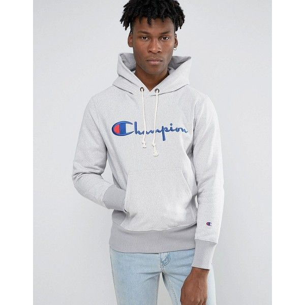 Champion Hoodie With Script Logo (1 930 ZAR) ❤ liked on Polyvore featuring men's fashion, men's clothing, men's hoodies, grey, mens tall hoodies, mens sweatshirts and hoodies, mens cotton hoodies, mens hoodies and mens grey hoodies