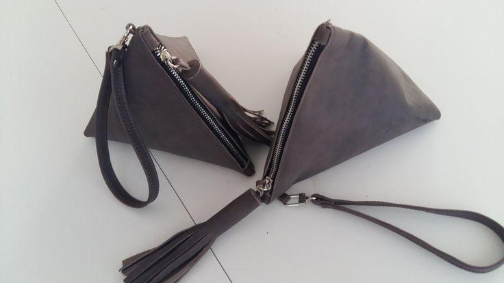 Triangle Leather Clutch, grey pyramid clutch, leather triagle pouch, triangle zipper poutch, birthday gift, geometric purse by UJaneBags on Etsy