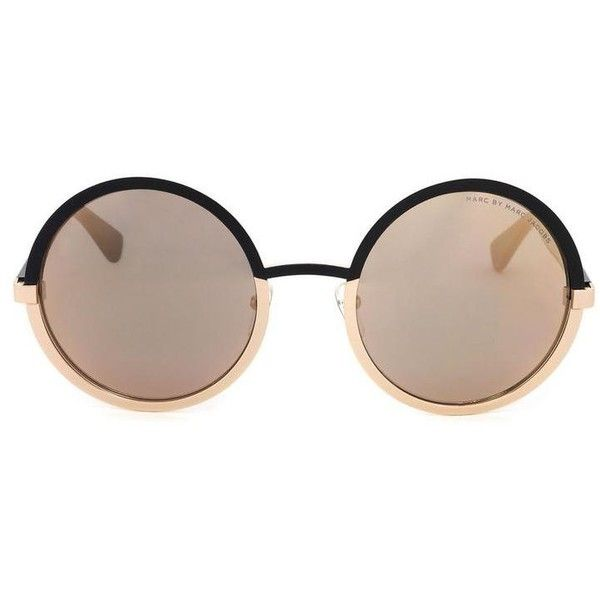 Marc by Marc Jacobs Retro Circle Sunglasses ($150) ❤ liked on Polyvore featuring accessories, eyewear, sunglasses, glasses, circular sunglasses, circle sunglasses, mirrored lens sunglasses, oval sunglasses and round mirror sunglasses