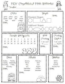 Pre-K/Kindergarten Printable Math Assessment