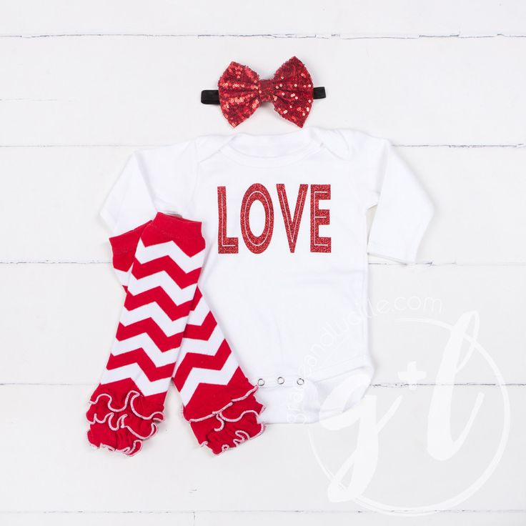 "All My ""LOVE"" Onesie Combo Outfit, Red Chevron Ruffled Leg Warmers"