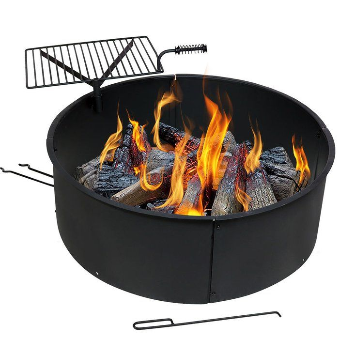 Steel Wood Fire Ring With Rotating Detachable Cooking Grate Wood Burning Fire Pit Fire Pit Kit Fire Pit Grate
