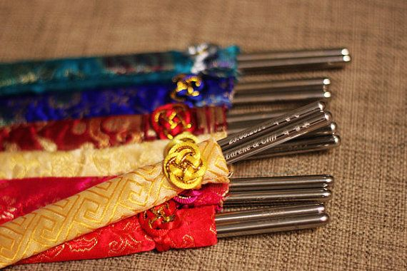 Free Shipping - Wedding Favor - 100 sets - Personalized Engraved Korean Stainless Steel Wedding Chopsticks with Silk Pouch