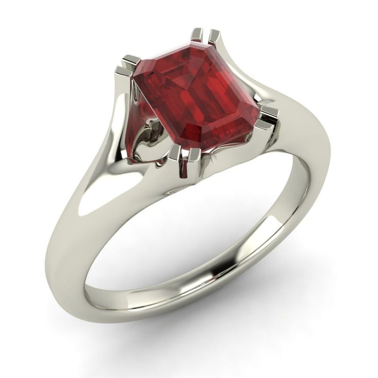 Emerald-Cut 1.12 Ct Natural Garnet Solitaire Engagement Ring in 14k White Gold #Diamondere