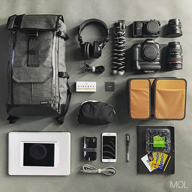 The MOL of photographer Glenn Fajota, which all fits neatly into his Lowepro Streetline 250 Backpack.