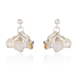 pearl and swarovski crystal earrings with tiny silver heart. In so many colours!