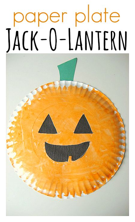 paper plate jack o lantern easy halloween craft and activities - Halloween Printable Crafts For Kids 2