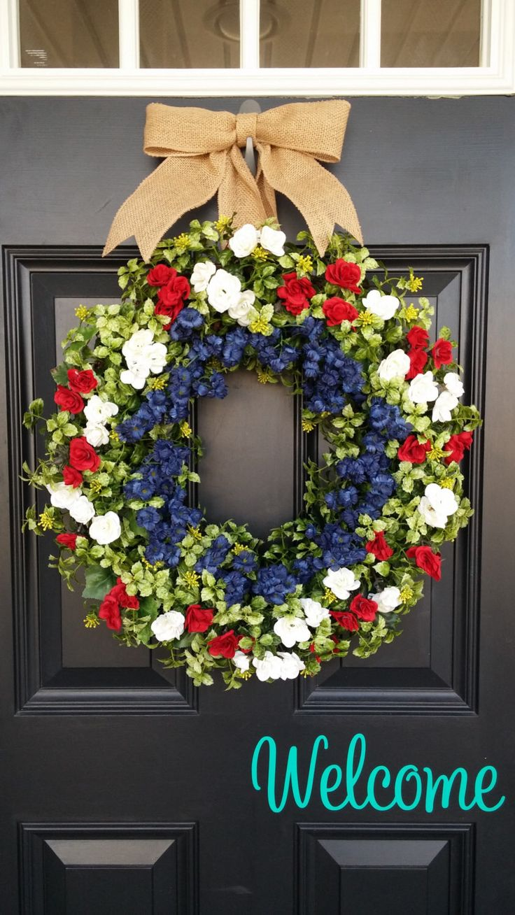 Summer front door decorations - Patriotic Summer Wreath 4th Of July Spring Wreath Front Door Wreath Memorial Day Red White And Blue Housewarming Gift