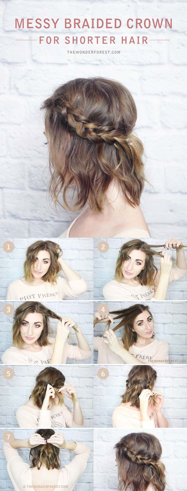 Festival Hair Tutorials - MESSY BRAIDED CROWN FOR SHORTER HAIR TUTORIAL - Short Quick and Easy Tutorial Guides and How Tos for Braids, Curly Hair, Long Hair, Medium Hair, and that Perfect Updo - Great Ideas for That Summer Music Edm Show, Whether It's A New Hair Color or Some Awesome Accessories and Flowers - Boho and Bohemian Styles with Glitter and a Headband - thegoddess.com/festival-hair-tutorials