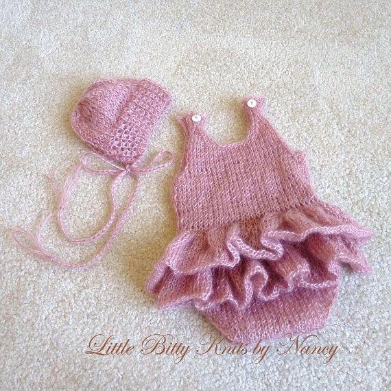 Mohair Romper & Hat  Newborn Photo Props  by artsandaccents