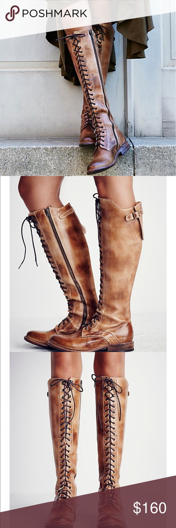 NIB Bed Stu Della Rustic Size 8 Rugged and distressed leather tall boots featuring adjustable Lace up detailing. Inside side zip for an easy on-off and padded foot bed. •heel 1.25 in •shaft 17.25.  • color  tan rustic • sold out at Free People • retail for $345 Bed Stu Shoes Lace Up Boots