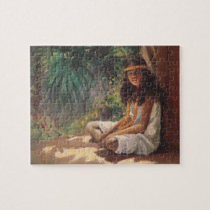 Portrait of a Polynesian Girl - Helen T. Dranga Jigsaw Puzzle - home decor design art diy cyo custom