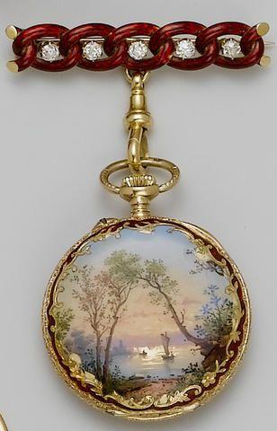 Swiss. A fine 19th century 18ct gold enamel fob watch with enamel and diamond set bar brooch
