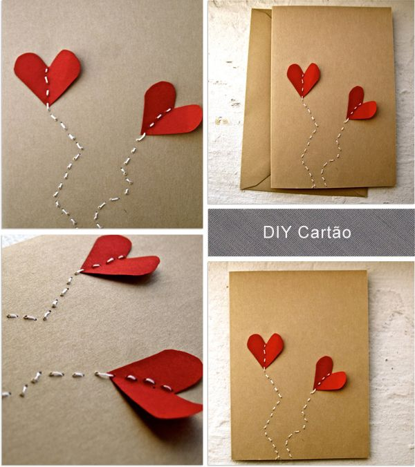 Cards with stitched hearts