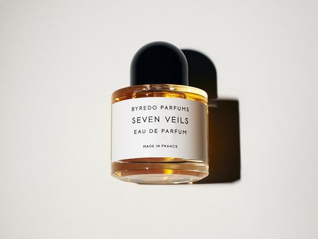 Byredo- Seven Veils- spicy oriental built around the warmth of vanilla and sandalwood. (Carrot, Piemento berry, Tahitian Vanilla Flower, Laurier Rose, Glycine, Tiger Orchid, Sandalwood, Vanilla Bean)  INSPIRED BY THE BIBLICAL TALE OF SALOME'S DANCE OF THE SEVEN VEILS (I love this perfume and it's inspiration!!!)