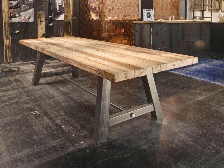 Esstisch Holz Und Edelstahl ~ BUCANERO Esstisch Schreibtisch Eiche Shabby Chic Spinder Design  eBay