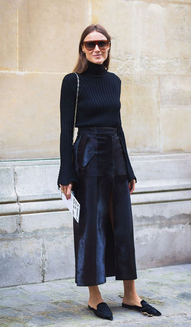 Team your ribbed turtleneck with a satin skirt for the ultimate low-key party look.