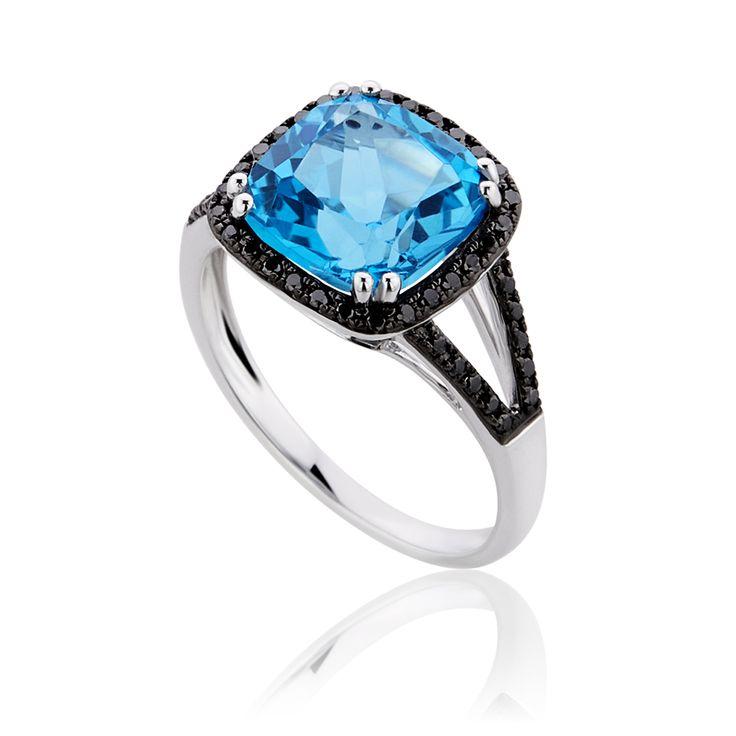 Δαχτυλίδι Diamonds Collection από λευκόχρυσο 18Κ με μαύρα μπριγιάν 0,22ct και μπλε τοπάζι