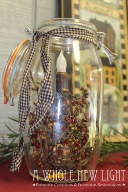 Handmade Primitive Light Jar