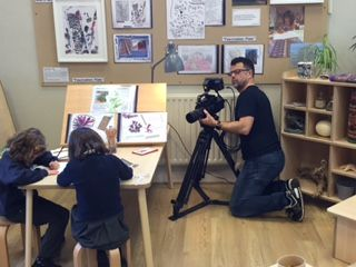 The children from Didsbury Road Primary School and Lucas Media filming at our Huddersfield Centre recently.