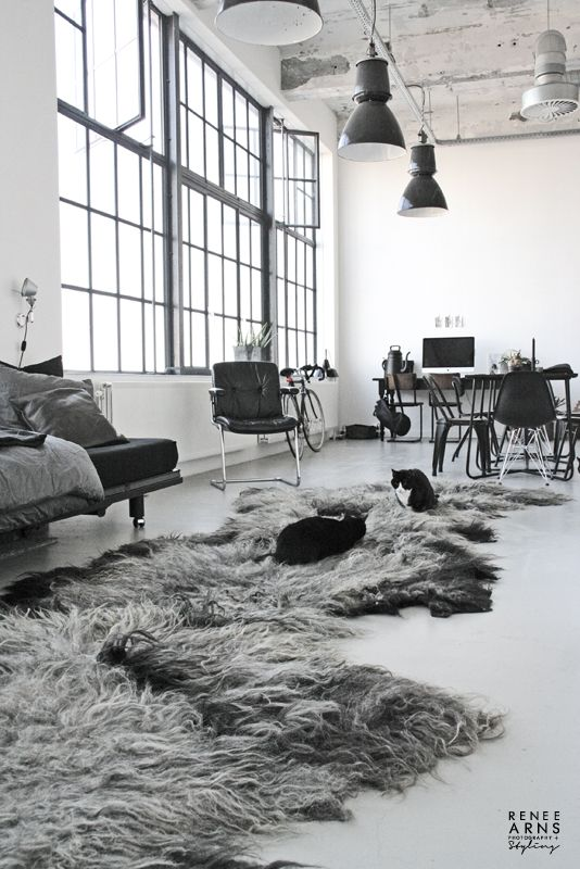 Grey chairs, feather rugs, big windows, metallic lamps, industrial, interior, loft,