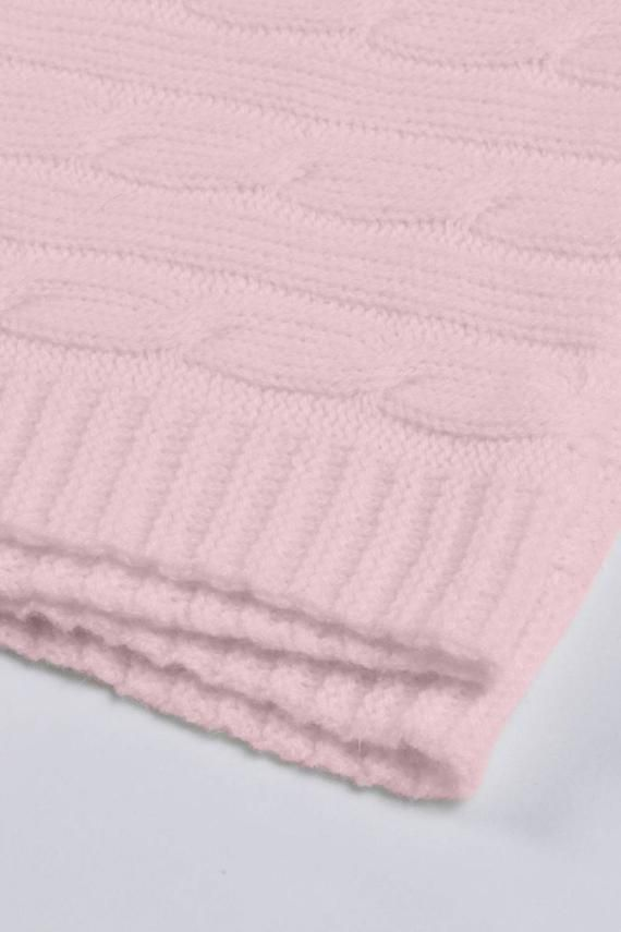 Baby Blanket 100 Cashmere In Pink Cable Knit Made In Italy Super Soft Baby Blanket 100 Cashmere In Pink Cable Knit Made In Italy Super Soft Baby Blanket