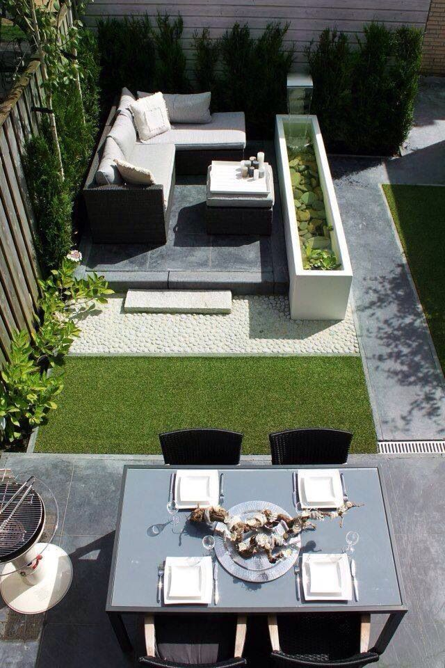 PIN 1 The synthetic grass gives a bright look to the space as it is inbetween not so colourful furniture, which gives the space more character.
