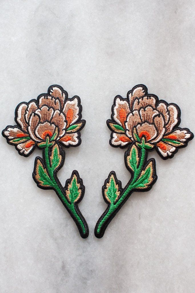 Embroidered peony patches with iron-on backing can be used to frame and complement your other favourite patches - perfect on the back of a jacket! Each flower i